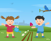 Two Kids Gardening. A girl and a boy playing with gardening tools in a country landscape. Eps file available stock illustration