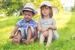 Two kids in hats Stock Photo