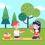 Two kids having lunch picnic at the park grass. Boy and girl kids having lunch picnic at the park grass. Smiling kids characters. Modern flat vector illustration Stock Images