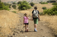 Two kids hiking at park Royalty Free Stock Images