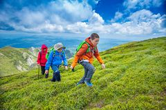 Two kids are hiking royalty free stock image