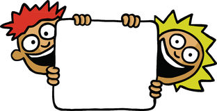 Two kids holding a board. Two kids holding an empty board royalty free illustration