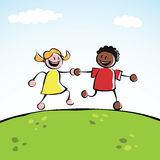 Two kids holding hands. Two kids (boy and girl of different ethnicities) holding hands and running together on a grassy hill stock illustration