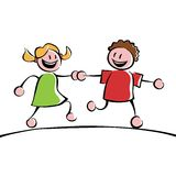 Two kids holding hands. Two running kids (boy and girl) holding hands Stock Images