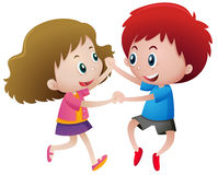 Two kids holding hands Stock Photos