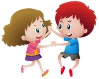 Two kids holding hands. Illustration stock illustration