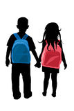 Two kids holding hands silhouette Stock Image