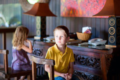 Two kids indoors Royalty Free Stock Photo