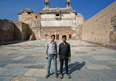 Two kids inside the Fort. CHITTORGARH, INDIA: Two kids inside the Chittorgarh Fort. Chitaurgarh fortress is the UNESCO World Heritage Site under the group Hill royalty free stock photo