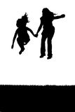 Two kids jump. Silhouette of two female children jumping over white Royalty Free Stock Photo