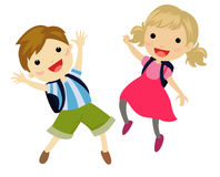 Two kids jumping Royalty Free Stock Image
