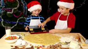 Two kids lay out the dough to baking tray. Two kids lay out the dough for christmas cookies to baking tray together stock video footage