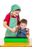 Two kids learning planting the seedling Stock Photos
