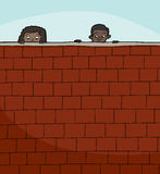 Two Kids Looking Over Wall. Pair of cute children peeking over brick wall Stock Images
