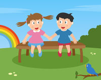 Two Kids in Love on a Bench. Two kids in love sitting on a bench in a park. Eps file available Royalty Free Stock Photo