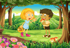 Two kids in the middle of the forest royalty free illustration