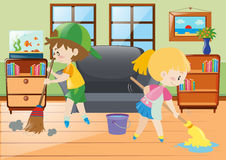 Two kids mopping and sweeping floor Royalty Free Stock Photos
