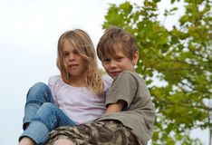 Two kids in nature Stock Photo