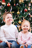 Two kids near Christmas tree Stock Photography