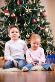 Two kids near Christmas tree Stock Images