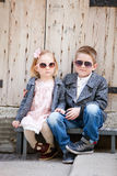 Two kids outdoors Royalty Free Stock Photo