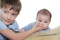 Two kids over white Royalty Free Stock Photo