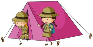 Two kids in pink tent. Illustration Stock Photography
