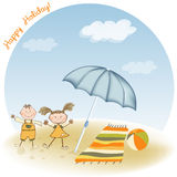 Two kids play on the beach Royalty Free Stock Photography