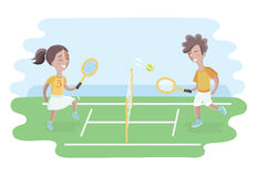 Two kids play tennis on court. Girls and boy Royalty Free Stock Photos