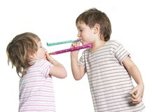 Two kids playing Royalty Free Stock Photos