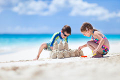 Two kids playing at beach Royalty Free Stock Photo