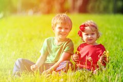Two kids playing with dandelions on green grass Stock Image