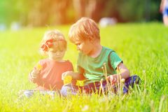 Two kids playing with dandelions on green grass Royalty Free Stock Image