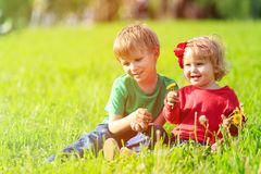 Two kids playing with dandelions on green grass Royalty Free Stock Photo