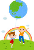 Two kids playing with Earth balloon. Illustration of Two kids playing with Earth balloon Royalty Free Stock Image