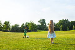 Two kids are playing football. Royalty Free Stock Photo