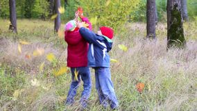 Two kids playing in the forest. Two happy kids throwing autumn leaves in the forest stock footage