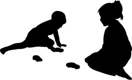 Two kids playing, kids body, silhouette vector Stock Photography