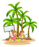 Two kids playing near the empty signboard Stock Photos