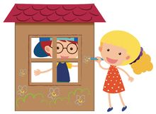 Two kids playing in the playhouse. Illustration Royalty Free Stock Photo