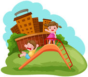 Two kids playing on the slide. Illustration of two kids playing on the slide Stock Photo