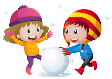 Two kids playing snowball in the field. Illustration Stock Images