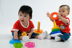 Two Kids playing toy Royalty Free Stock Photography