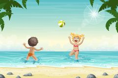 Two Kids Are Playing In The Water Stock Photography