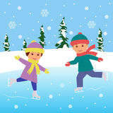 Two kids practicing ice skating on frozen lake. Royalty Free Stock Photography