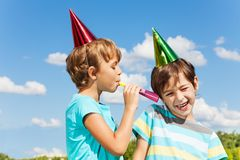Two kids pranking Royalty Free Stock Images