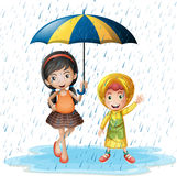 Two kids in the rain. Illustration Royalty Free Stock Photography