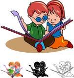 Two kids reading a book. Two kids  reading a book line art cartoon image Stock Photography