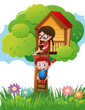 Two kids in reading book in treehouse. Illustration Stock Photography
