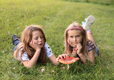 Two kids with red toadstool. Two kids with small red toadstool - mushroom Ramaria aurea commonly known as fly agaric or fly amanita (family Amanitaceae) on green stock image